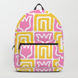 Mid Century Flower Garden Pattern 381 Yellow and Pink Backpack