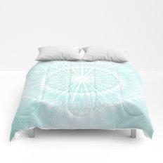 Turquoise Glittering Mandala Comforters