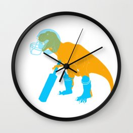 T Rex playing Cricket Wall Clock