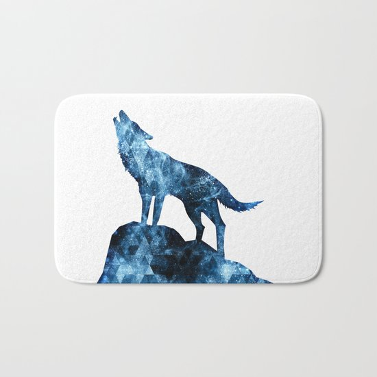 Howling Wolf blue sparkly smoke silhouette Bath Mat