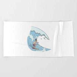 Surfer rides the big wave Beach Towel