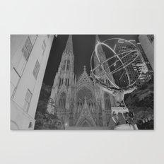 Atlas Statue Black and White Canvas Print