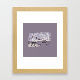 Jessie Frying up a Pan Full of Sausages on the Range Framed Art Print
