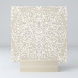 White Lace Mandala on Antique Ivory Linen Background Mini Art Print