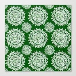 Emerald Green and Silver Patterned Mandalas Canvas Print