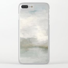 Modern Abstract Painting, Light Teal, Sage Green, Gray Cloudy Weather Digital Prints Wall Art, Ocean Clear iPhone Case