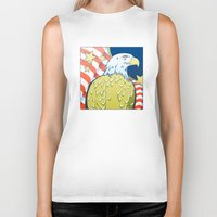 patriotic Biker Tanks featuring Patriotic Eagle by whiterabbitart