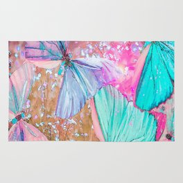 Turquoise butterflies on a pink background - lovely summer mood Rug