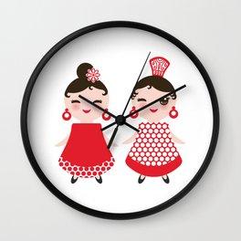 Spanish Woman flamenco dancer. Kawaii cute face with pink cheeks and winking eyes. Gipsy girl Wall Clock
