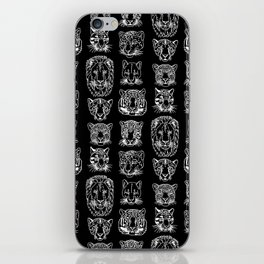 Kickass Kitties - white on black iPhone Skin