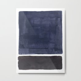 Navy Black Rothko Fun Colorful Mid Century Modern Abstract Painting Shapes Pattern Metal Print