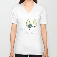 frenchie V-neck T-shirts featuring Frenchie by Fabio Rex