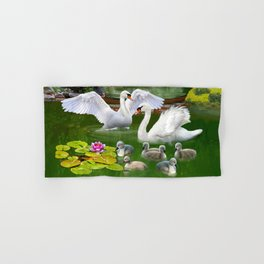 Swans and Baby Cygnets in an Oriental Landscape Hand & Bath Towel
