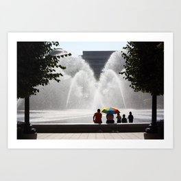 Family at the Fountain Art Print