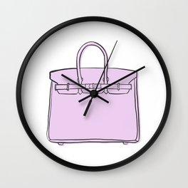 Lilac / Lavender Birkin Vibes High Fashion Purse Illustration Wall Clock