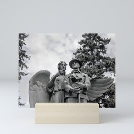War Memorial - Angel and Soldier Black and White Photo Mini Art Print