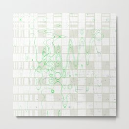 Green wavy lines on grey and white tiles background abstract background design Metal Print