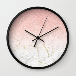 Rose Gold Glitter and gold white Marble Wall Clock