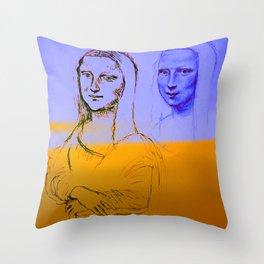 Mona Yellow&Blue Throw Pillow