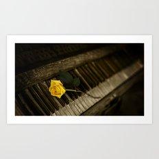 piano and rose Art Print