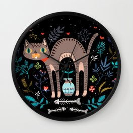 Floral and Cat at night Wall Clock