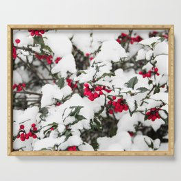 SNOW COVERED HOLLY Serving Tray