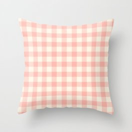 PASTEL GINGHAM 02, blush pink squares Throw Pillow