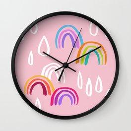 Rainbow Rain Pattern - Pink Wall Clock