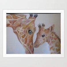 Mom and Baby Giraffe Art Print