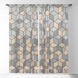 Concrete and Wood Cubes Sheer Curtain
