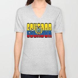 Ecuador Font With Ecuadorian Flag Unisex V-Neck