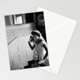Jackie Kennedy Throwing Wedding Bouquet - 1953 Stationery Cards