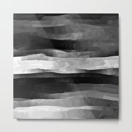 Glowing Smoky Abstract - Black and White Metal Print