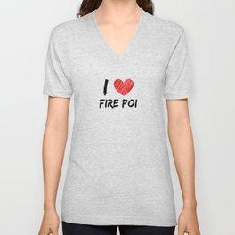 I Love Fire Poi Unisex V-Neck