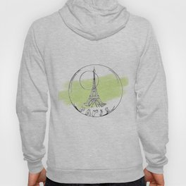 paris in a glass ball . green pastel colors Hoody