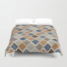 Tuscan Tiles Dark Orange and Gray Duvet Cover