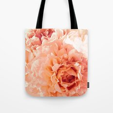 Peach Pink Peony Bunch Tote Bag