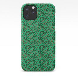 Greenery Green and Beige Leopard Spotted Animal Print Pattern iPhone Case