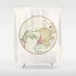 Northern Hemisphere- reproduction of William Faden's 1790 engraving Shower Curtain