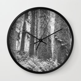 Forest Trail in Black and White Wall Clock