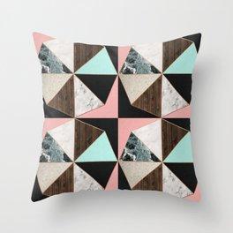 Rose Gold Hexagon Pattern Throw Pillow