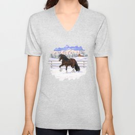 Beautiful Brown & White Bay Gypsy Vanner Draft Horse In Snow Unisex V-Neck