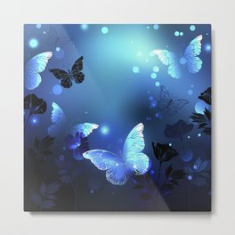 Midnight Butterflies Glowing Metal Print