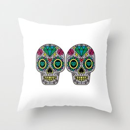 Day Of The Dead Sugar Skulls Bra Funny Calavera Mexican Culture Celebration Pun Gift Throw Pillow