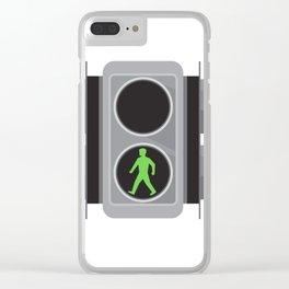 Traffic Light Man Walking Retro Clear iPhone Case