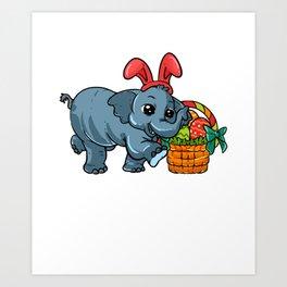 Cute Elephant Easter print | Egg Hunt Gift For Animal Lovers Art Print