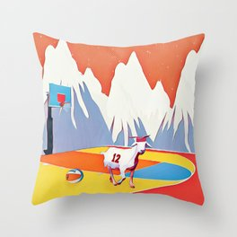 Goat in court Throw Pillow