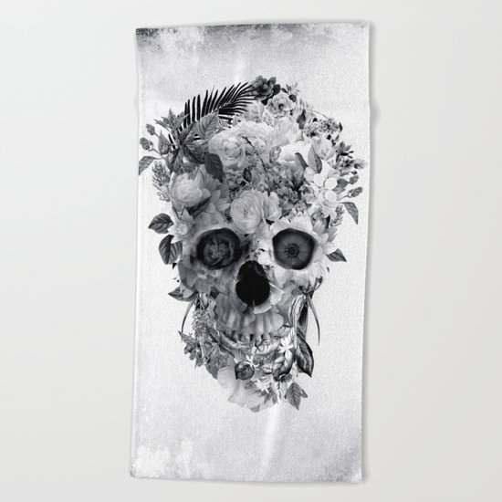 Skull BW Beach Towel