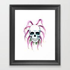 Dead Flower Skull Framed Art Print