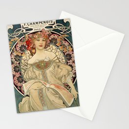 F. Champenois Alphonse Mucha - printer lithographer - peasant woman - neoclassical gown Egyptian - floral motifs hair - Ad Wall Decor Print Stationery Cards